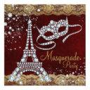 red gold paris masquerade party invitation