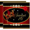 red gold sweet sixteen sweet 16 masquerade invitation