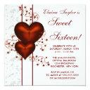 red heart damask sweet 16 birthday party invitations