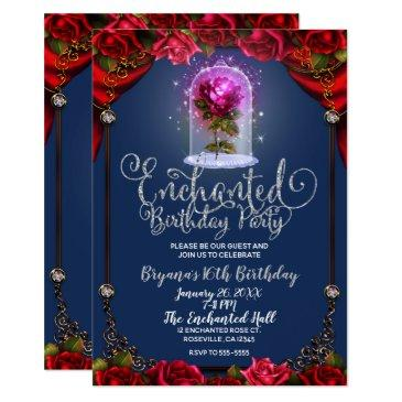 red magical enchanted red rose beauty sweet 16 invitation
