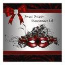 red mask masquerade party invitation