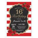 red rose 16th birthday invitations gold glitter