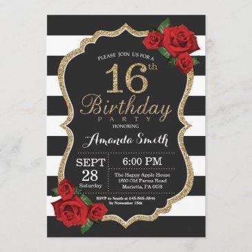 red rose 16th birthday invitation gold glitter