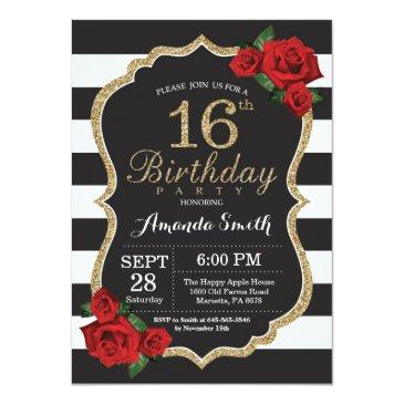 Small Red Rose 16th Birthday Invitation Gold Glitter Front View