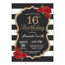 red rose 16th birthday invitation gold glitter
