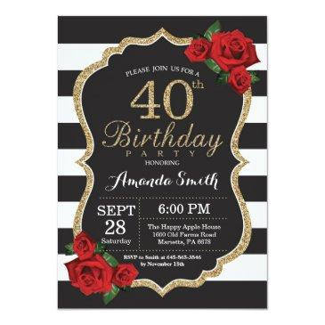 red rose 40th birthday invitations gold glitter