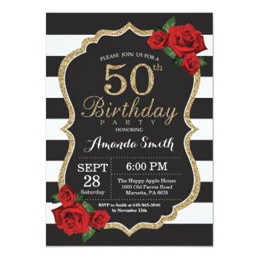 red rose 50th birthday invitation gold glitter