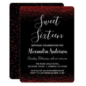 red rose petal sweet sixteen birthday invitations