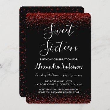 red rose petal sweet sixteen birthday invitation