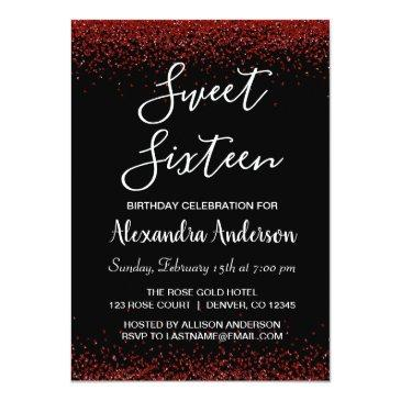 Small Red Rose Petal Sweet Sixteen Birthday Invitation Front View