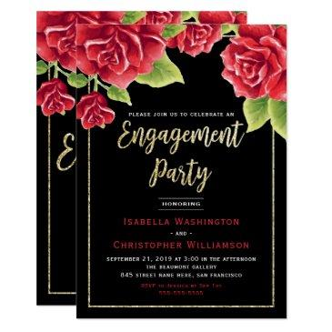 red roses black & gold glitter engagement party invitation