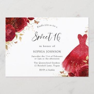 red roses sparkle dress gold sweet 16 party invitation