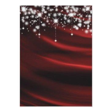 Small Red Silk & Sparkle Gold Sweet 16 Glam Invitations Back View