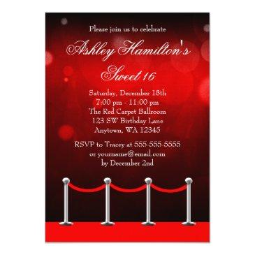 Small Red Silver Carpet Hollywood Sweet 16 Birthday Invitations Front View