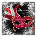red snowflake masquerade party invitations