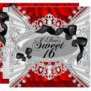 red sparkle diamond & bow sweet 16 invite