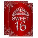 red sparkle diamond tiara sweet 16 invitation