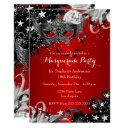 red sparkle magical night masquerade party invite