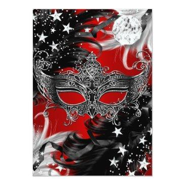 Small Red Sparkle Magical Night Masquerade Party Invite Back View