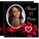 red sweet 16 birthday party heart photo silver invitation