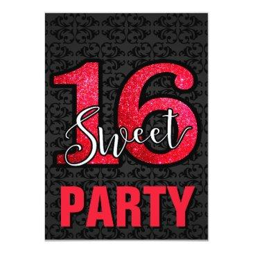 Small Red Sweet 16 Birthday Party Invitation Id Invitations Badge Front View