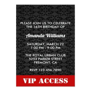 Small Red Sweet 16 Birthday Party Invitation Id Invitations Badge Back View