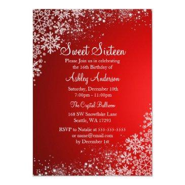 red sweet 16 winter wonderland sparkle snowflakes invitation