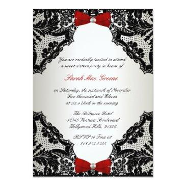 Small Red, White And Black Lace Sweet 16 Invitations Front View
