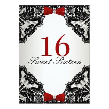 Small Red, White And Black Lace Sweet 16 Invitations Back View