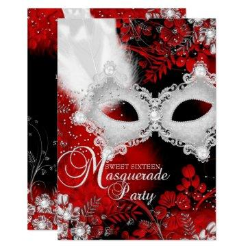 red white sparkle mask masquerade sweet 16 invitations