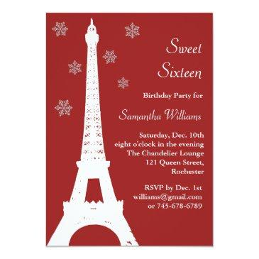 red winter in paris birthday invite