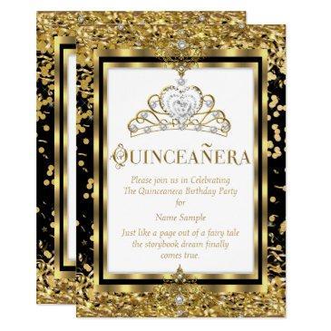 regal princess quinceanera 15th gold black white invitations