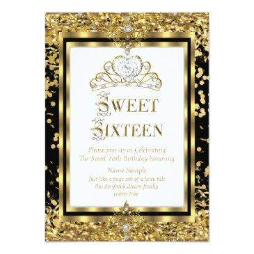 Small Regal Princess Sweet 16 Gold Black White Party Invitations Front View
