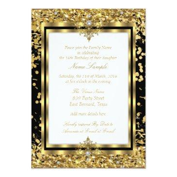 Small Regal Princess Sweet 16 Gold Black White Party Invitations Back View