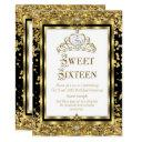 regal princess sweet 16 gold black white party invitations