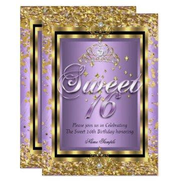 regal princess sweet 16 gold lavender purple party invitations