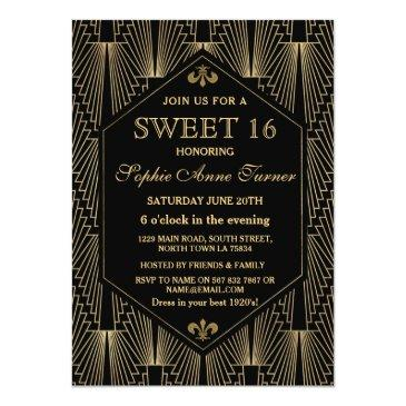 Small Roaring 20s Great Gatsby Art Deco Sweet 16 Party Invitations Front View
