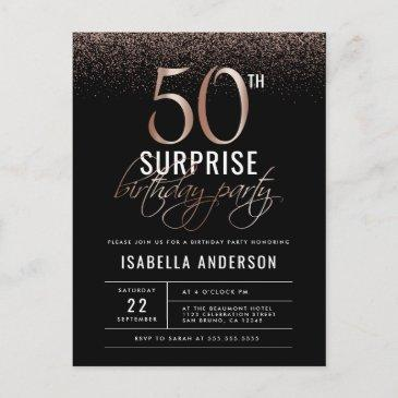 rose gold and black surprise 50th birthday party  post