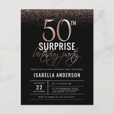 rose gold and black surprise 50th birthday party invitation postinvitations