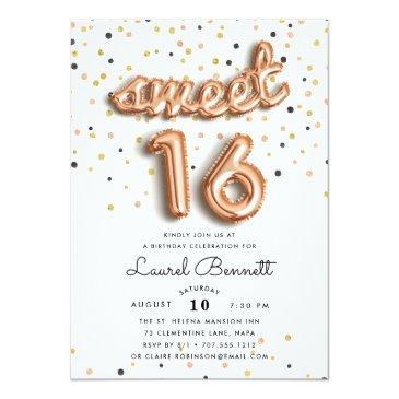 Small Rose Gold Balloons | Sweet 16 Party Invitation Front View