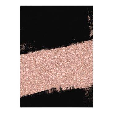 Small Rose Gold Black Faux Glitter Brush Sweet 16 Invitation Back View