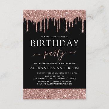 rose gold black glitter any age birthday invitation