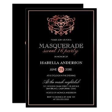 rose gold & black masquerade sweet 16 typography invitation