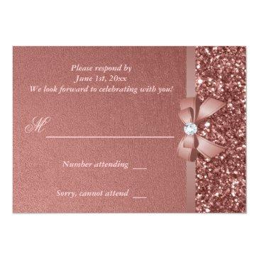Small Rose Gold Blush Glitter Bow Rsvp Invitations Back View