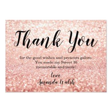 Small Rose Gold Bokeh Lights Sweet 16 Thank You Note Front View
