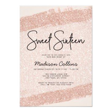 Small Rose Gold Brush Glitter Sweet 16 Invitation Front View