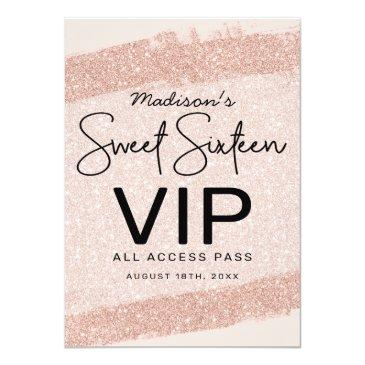 Small Rose Gold Brush Glitter Sweet 16 Invitation Vip Badge Front View