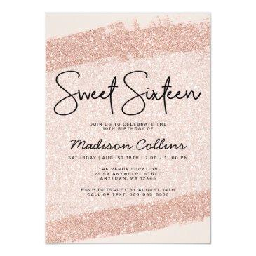 Small Rose Gold Brush Glitter Sweet 16 Invitation Vip Badge Back View