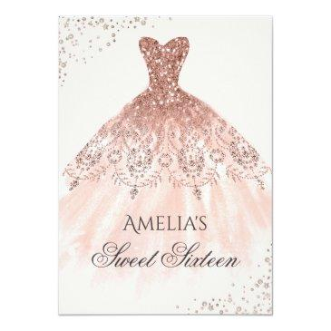 Small Rose Gold Dress Sparkle Sweet Sixteen Invitation Front View