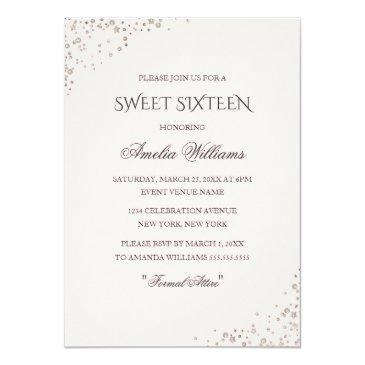 Small Rose Gold Dress Sparkle Sweet Sixteen Invitation Back View